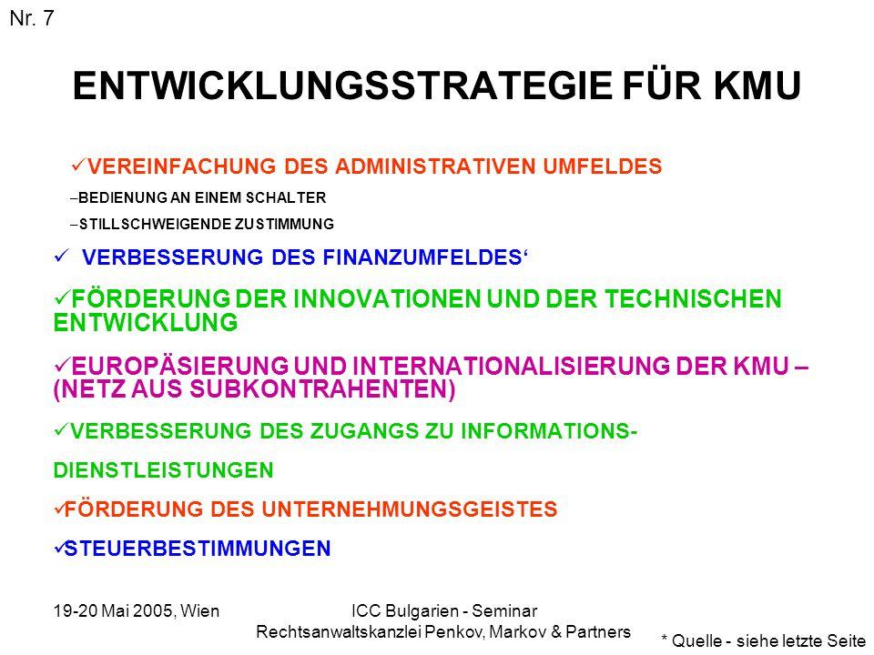 19-20 Mai 2005, Wien ICC Bulgarien - Seminar Rechtsanwaltskanzlei Penkov, Markov & Partners Abeitnehmerkosten (USD) Nr.
