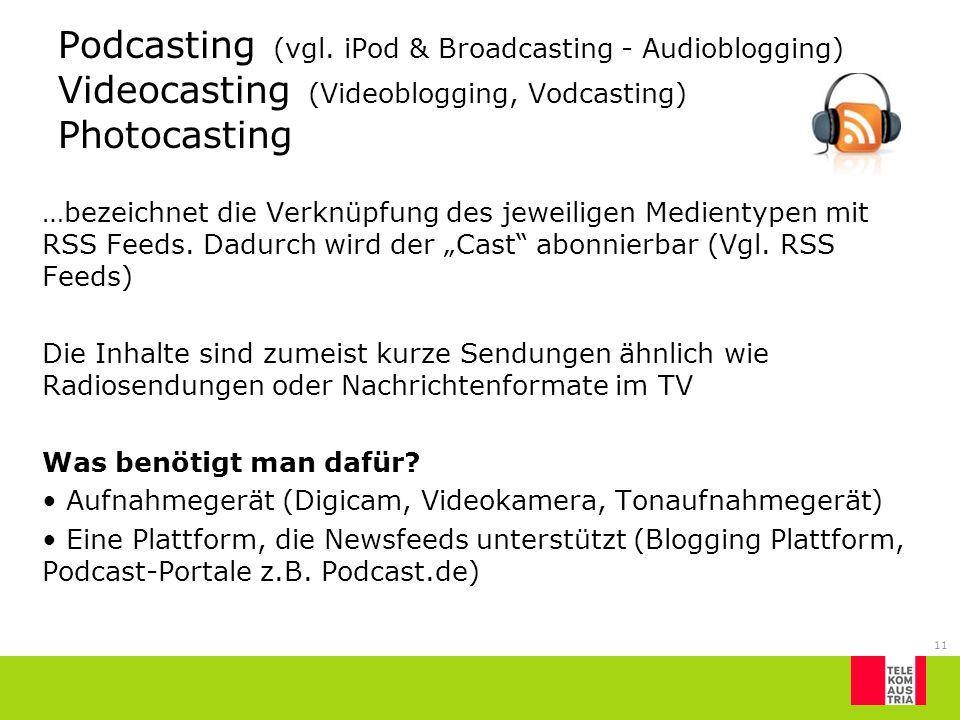 11 Podcasting (vgl. iPod & Broadcasting - Audioblogging) Videocasting (Videoblogging, Vodcasting) Photocasting …bezeichnet die Verknüpfung des jeweili