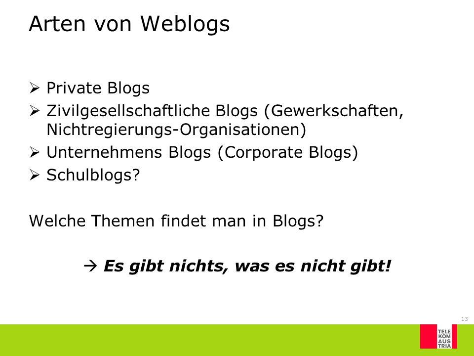 13 Arten von Weblogs Private Blogs Zivilgesellschaftliche Blogs (Gewerkschaften, Nichtregierungs-Organisationen) Unternehmens Blogs (Corporate Blogs)