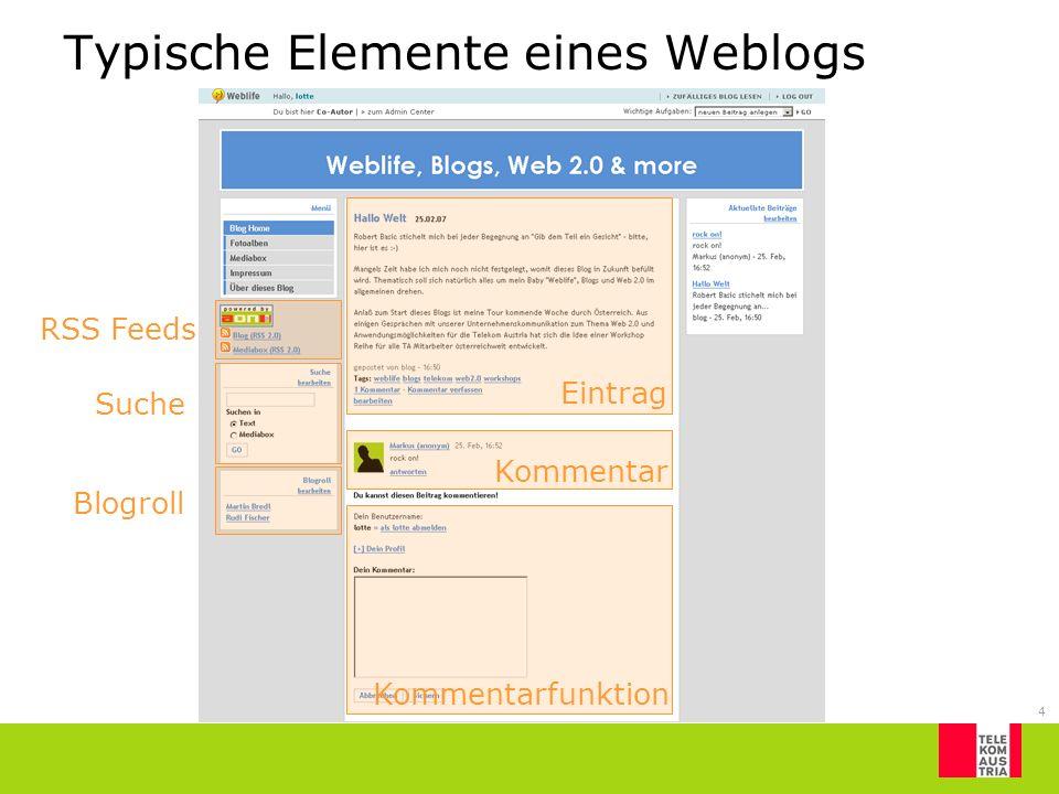 4 Typische Elemente eines Weblogs Blogroll Suche RSS Feeds Kommentarfunktion Kommentar Eintrag
