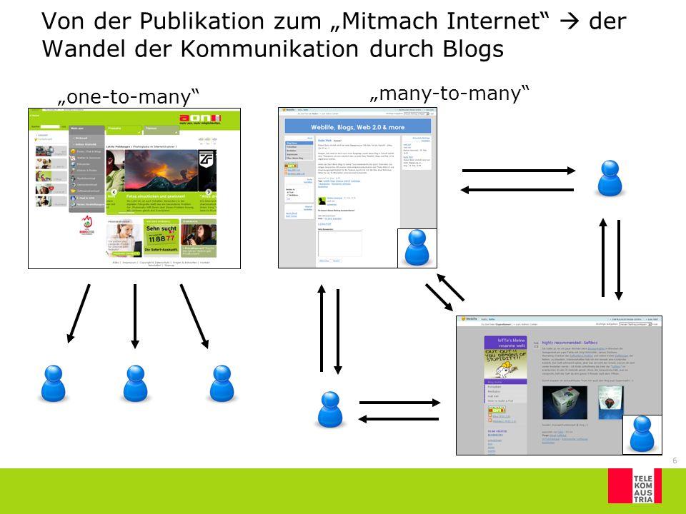 6 Von der Publikation zum Mitmach Internet der Wandel der Kommunikation durch Blogs one-to-many many-to-many