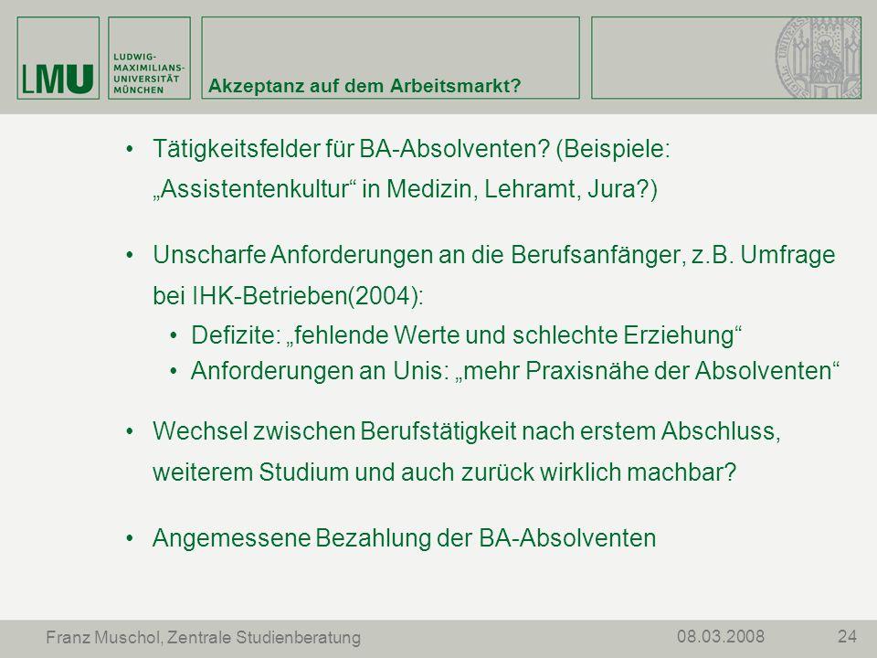 2408.03.2008 Franz Muschol, Zentrale Studienberatung Akzeptanz auf dem Arbeitsmarkt? Tätigkeitsfelder für BA-Absolventen? (Beispiele: Assistentenkultu