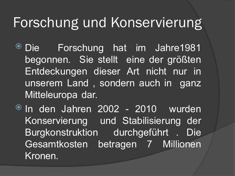 Forschung und Konservierung Die Forschung hat im Jahre1981 begonnen.