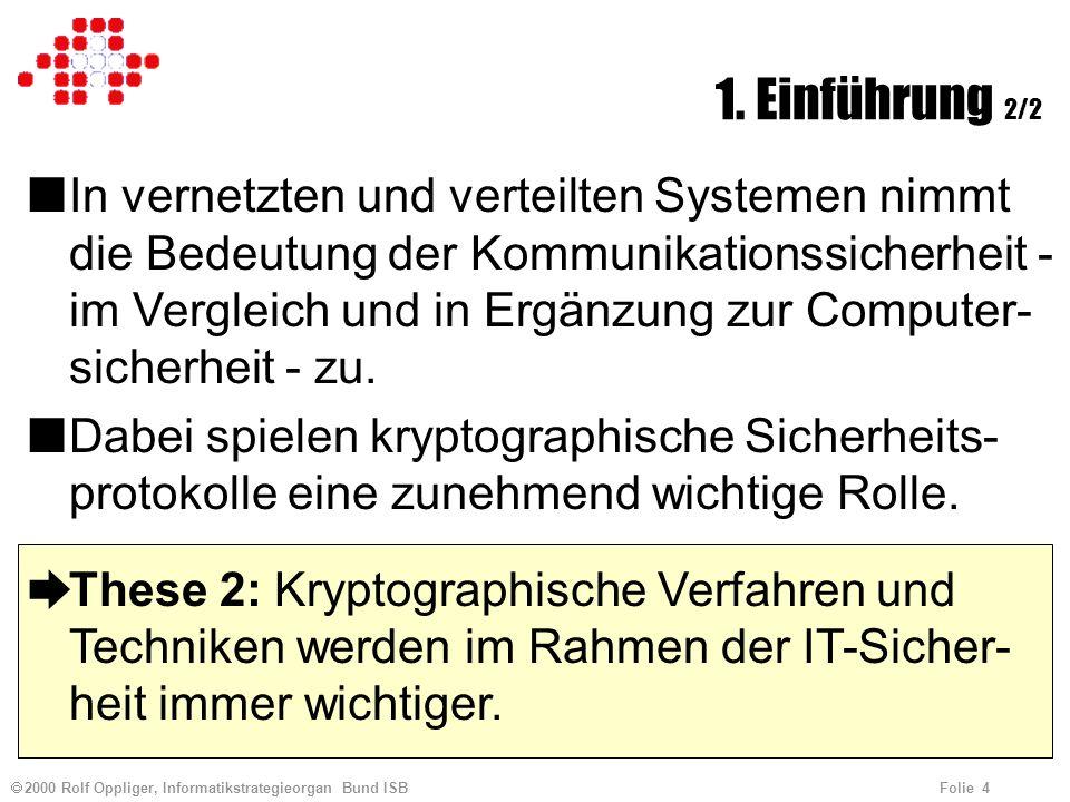 2000 Rolf Oppliger, Informatikstrategieorgan Bund ISB Folie 4 1.