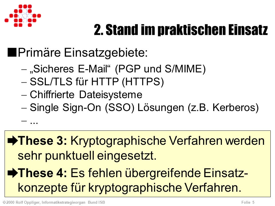 2000 Rolf Oppliger, Informatikstrategieorgan Bund ISB Folie 5 2.