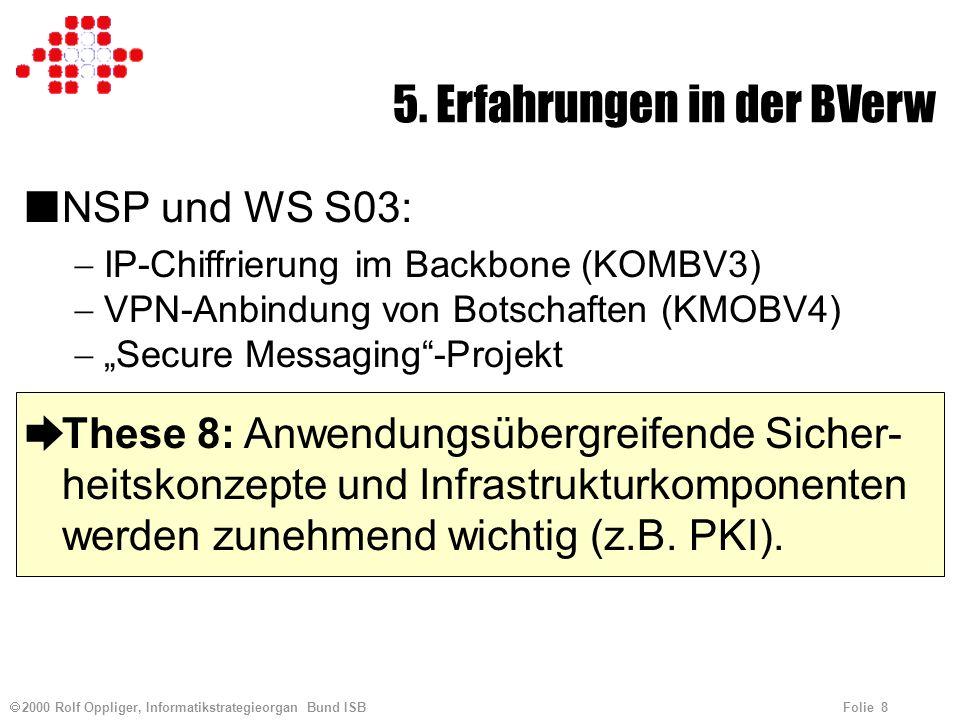 2000 Rolf Oppliger, Informatikstrategieorgan Bund ISB Folie 8 5. Erfahrungen in der BVerw nNSP und WS S03: IP-Chiffrierung im Backbone (KOMBV3) VPN-An
