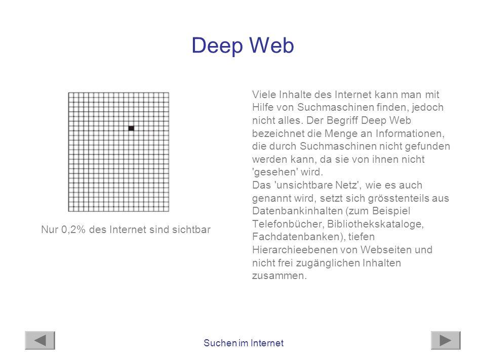 Suchen im Internet Deep Web Viele Inhalte des Internet kann man mit Hilfe von Suchmaschinen finden, jedoch nicht alles. Der Begriff Deep Web bezeichne
