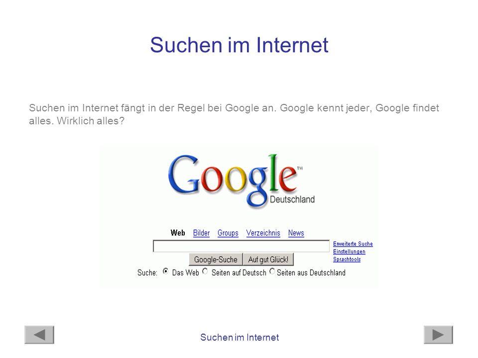 Suchen im Internet Suchen im Internet fängt in der Regel bei Google an. Google kennt jeder, Google findet alles. Wirklich alles?