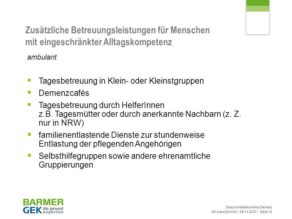Gesundheitsökonomie Demenz Nikolaus Schmitt 05.11.2010 Seite 13 Zusätzliche Betreuungsleistungen für Menschen mit eingeschränkter Alltagskompetenz amb