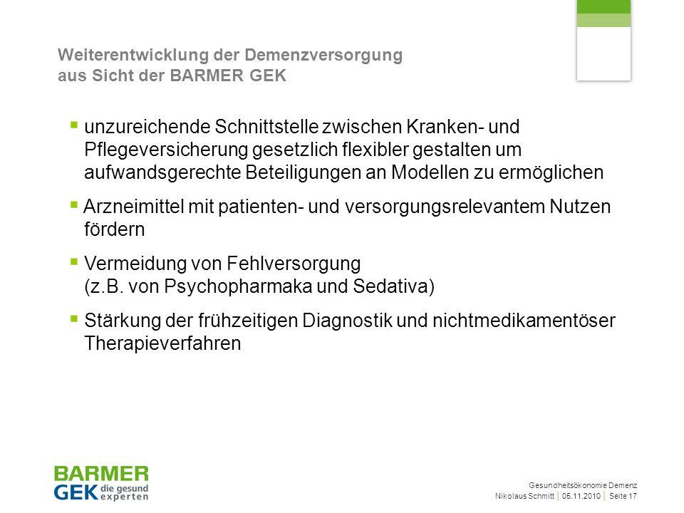 Gesundheitsökonomie Demenz Nikolaus Schmitt 05.11.2010 Seite 17 Weiterentwicklung der Demenzversorgung aus Sicht der BARMER GEK unzureichende Schnitts