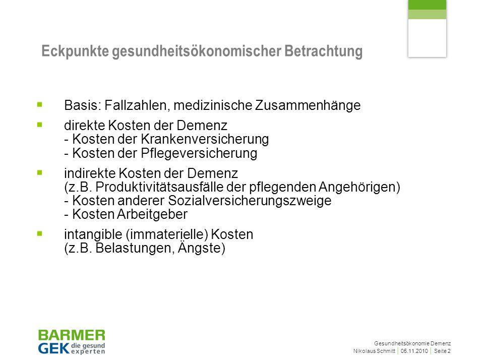 Gesundheitsökonomie Demenz Nikolaus Schmitt 05.11.2010 Seite 2 Eckpunkte gesundheitsökonomischer Betrachtung Basis: Fallzahlen, medizinische Zusammenh
