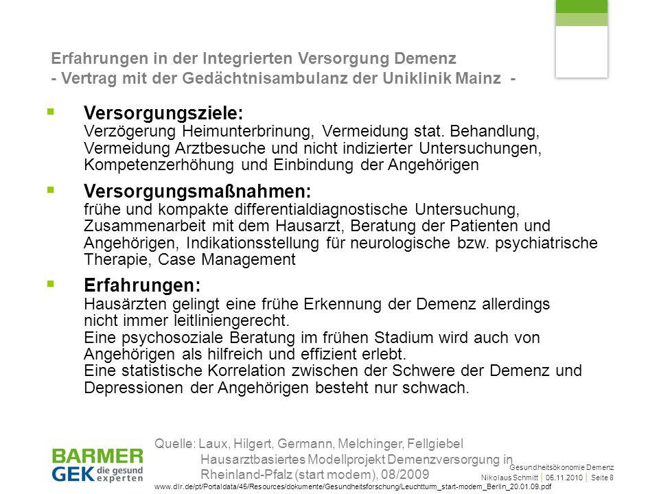 Gesundheitsökonomie Demenz Nikolaus Schmitt 05.11.2010 Seite 8 Erfahrungen in der Integrierten Versorgung Demenz - Vertrag mit der Gedächtnisambulanz der Uniklinik Mainz - Versorgungsziele: Verzögerung Heimunterbrinung, Vermeidung stat.