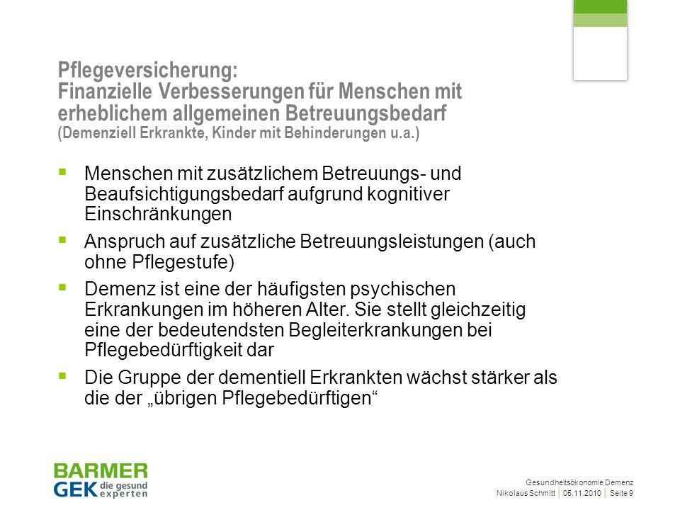 Gesundheitsökonomie Demenz Nikolaus Schmitt 05.11.2010 Seite 9 Menschen mit zusätzlichem Betreuungs- und Beaufsichtigungsbedarf aufgrund kognitiver Ei