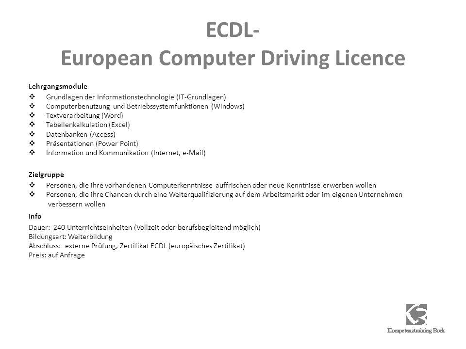 ECDL- European Computer Driving Licence Lehrgangsmodule Grundlagen der Informationstechnologie (IT-Grundlagen) Computerbenutzung und Betriebssystemfun