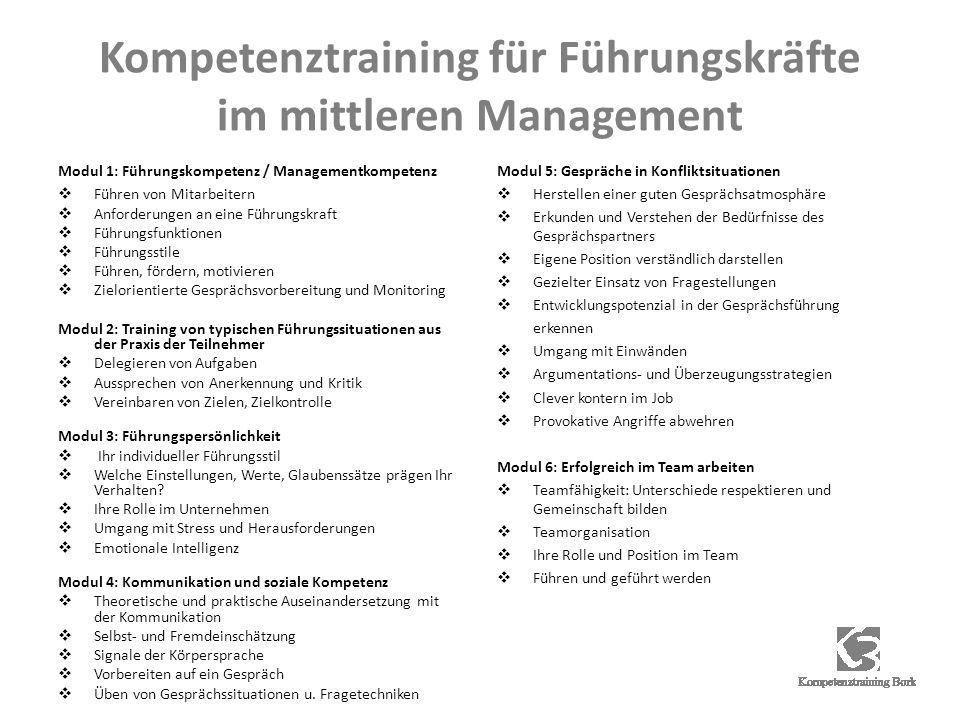 Kompetenztraining für Führungskräfte im mittleren Management Modul 1: Führungskompetenz / Managementkompetenz Führen von Mitarbeitern Anforderungen an