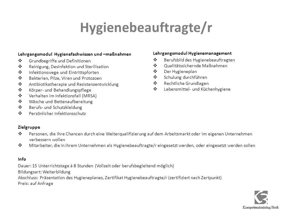Hygienebeauftragte/r Lehrgangsmodul Hygienefachwissen und –maßnahmen Grundbegriffe und Definitionen Reinigung, Desinfektion und Sterilisation Infektio