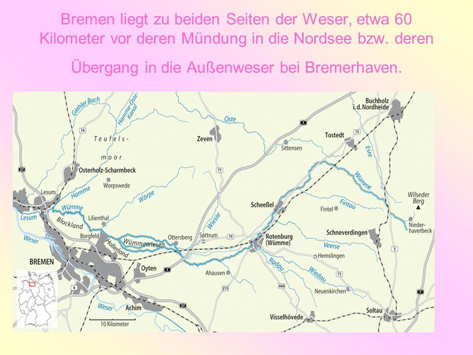 Bremen liegt zu beiden Seiten der Weser, etwa 60 Kilometer vor deren Mündung in die Nordsee bzw. deren Übergang in die Außenweser bei Bremerhaven.