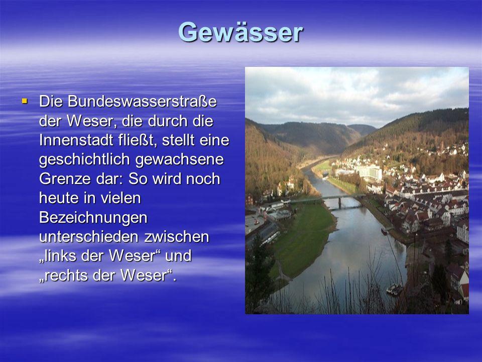 Gewässer Die Bundeswasserstraße der Weser, die durch die Innenstadt fließt, stellt eine geschichtlich gewachsene Grenze dar: So wird noch heute in vie