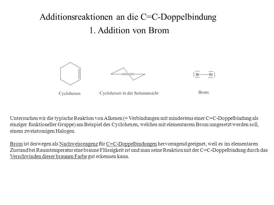 Untersuchen wir die typische Reaktion von Alkenen (= Verbindungen mit mindestens einer C=C-Doppelbindung als einziger funktioneller Gruppe) am Beispie