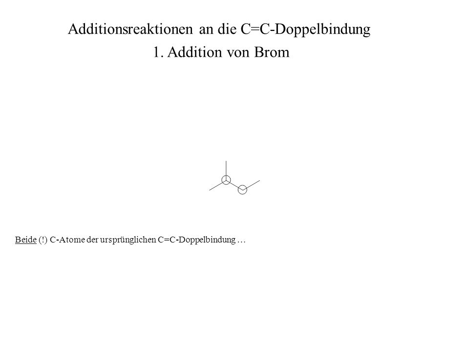 Beide (!) C-Atome der ursprünglichen C=C-Doppelbindung … Additionsreaktionen an die C=C-Doppelbindung 1. Addition von Brom