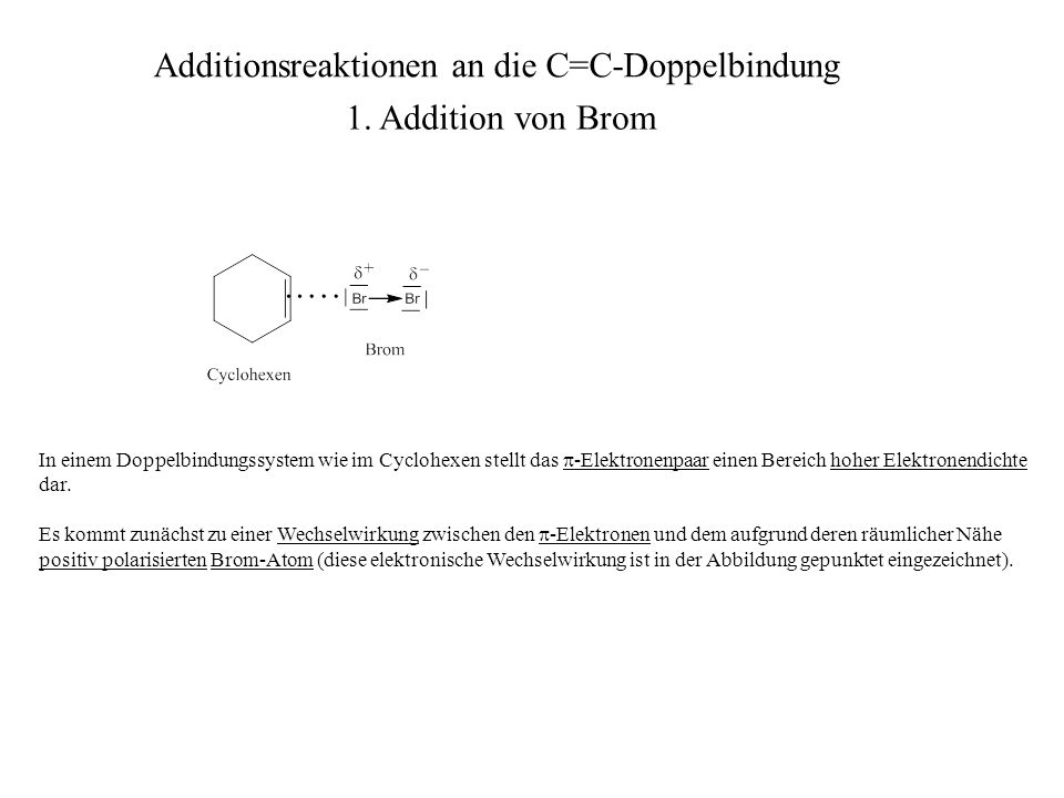 Additionsreaktionen an die C=C-Doppelbindung 1.