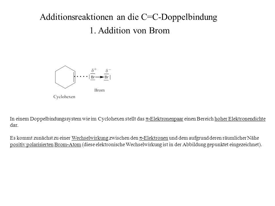 In einem Doppelbindungssystem wie im Cyclohexen stellt das -Elektronenpaar einen Bereich hoher Elektronendichte dar. Es kommt zunächst zu einer Wechse