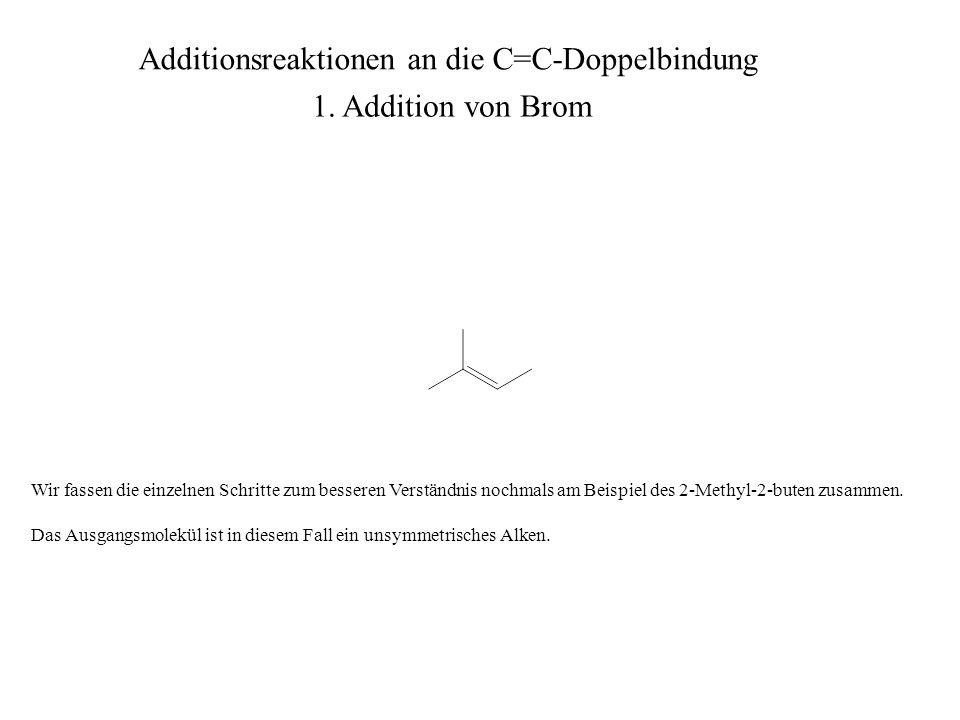 Wir fassen die einzelnen Schritte zum besseren Verständnis nochmals am Beispiel des 2-Methyl-2-buten zusammen. Das Ausgangsmolekül ist in diesem Fall