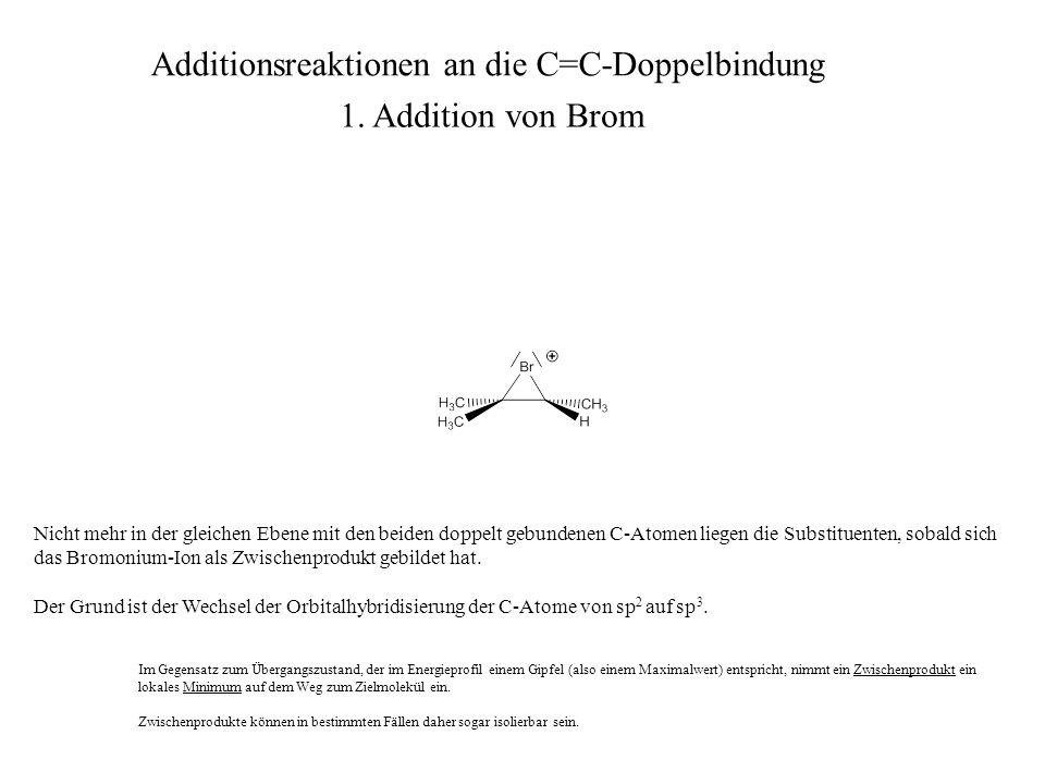 Nicht mehr in der gleichen Ebene mit den beiden doppelt gebundenen C-Atomen liegen die Substituenten, sobald sich das Bromonium-Ion als Zwischenproduk