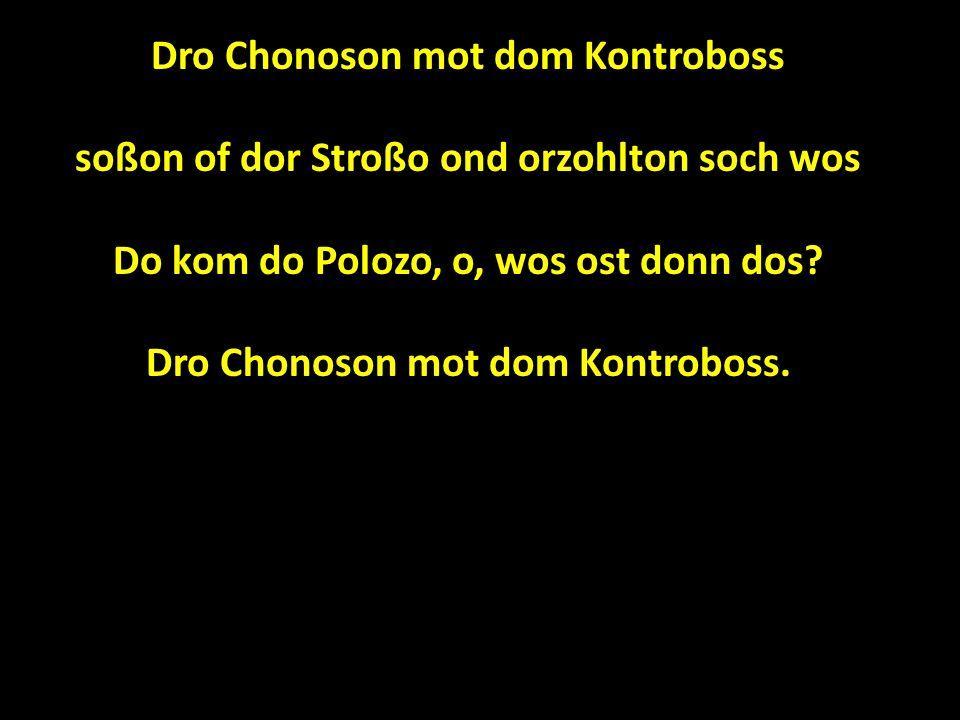 Dro Chonoson mot dom Kontroboss soßon of dor Stroßo ond orzohlton soch wos Do kom do Polozo, o, wos ost donn dos.
