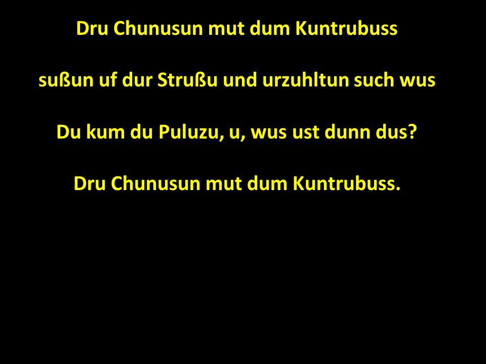 Dru Chunusun mut dum Kuntrubuss sußun uf dur Strußu und urzuhltun such wus Du kum du Puluzu, u, wus ust dunn dus.