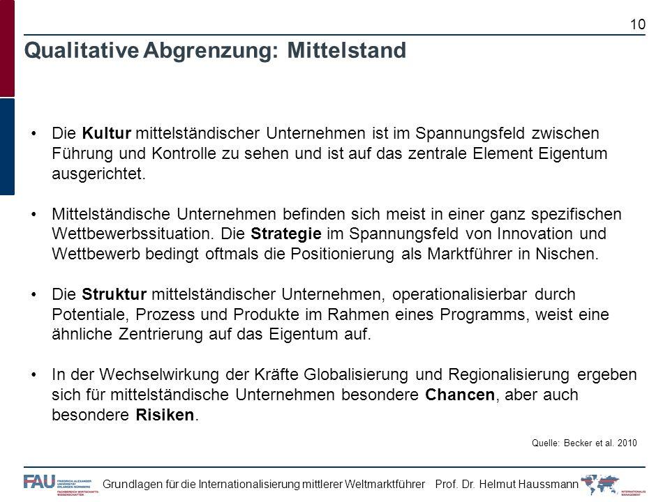 Prof. Dr. Helmut HaussmannGrundlagen für die Internationalisierung mittlerer Weltmarktführer Die Kultur mittelständischer Unternehmen ist im Spannungs