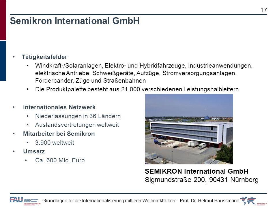 Prof. Dr. Helmut HaussmannGrundlagen für die Internationalisierung mittlerer Weltmarktführer Tätigkeitsfelder Windkraft-/Solaranlagen, Elektro- und Hy