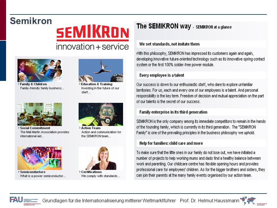 Prof. Dr. Helmut HaussmannGrundlagen für die Internationalisierung mittlerer Weltmarktführer Semikron
