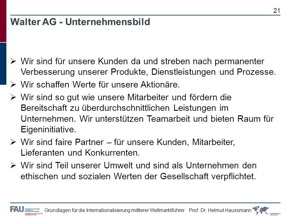 Prof. Dr. Helmut HaussmannGrundlagen für die Internationalisierung mittlerer Weltmarktführer Walter AG - Unternehmensbild Wir sind für unsere Kunden d