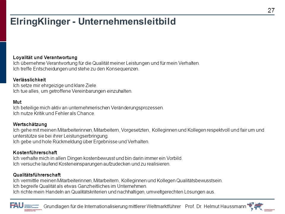 Prof. Dr. Helmut HaussmannGrundlagen für die Internationalisierung mittlerer Weltmarktführer ElringKlinger - Unternehmensleitbild Loyalität und Verant