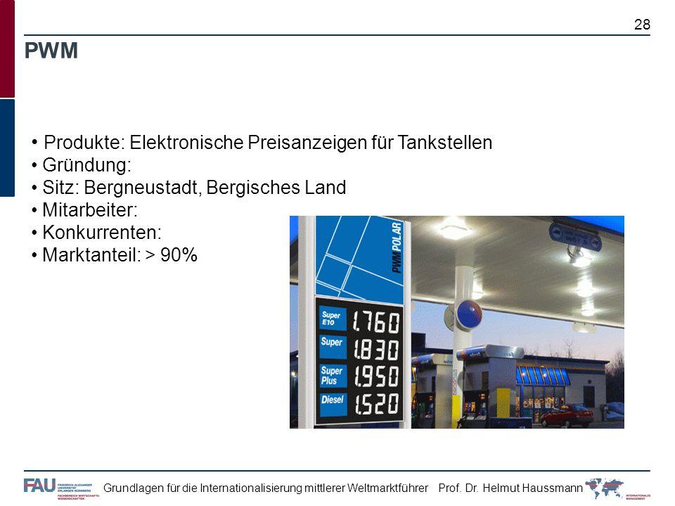 Prof. Dr. Helmut HaussmannGrundlagen für die Internationalisierung mittlerer Weltmarktführer PWM Produkte: Elektronische Preisanzeigen für Tankstellen