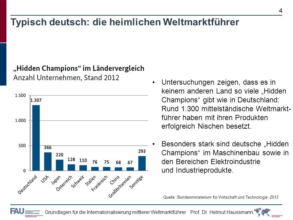 Prof. Dr. Helmut HaussmannGrundlagen für die Internationalisierung mittlerer Weltmarktführer 4 Typisch deutsch: die heimlichen Weltmarktführer Untersu