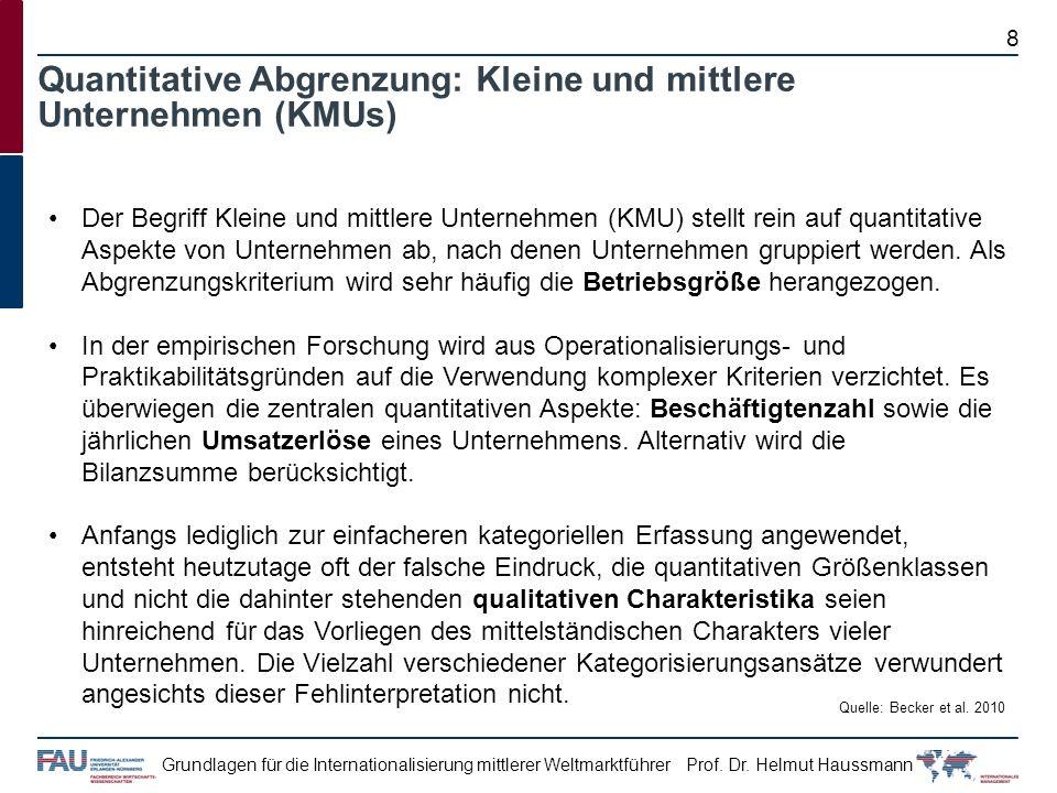 Prof. Dr. Helmut HaussmannGrundlagen für die Internationalisierung mittlerer Weltmarktführer Der Begriff Kleine und mittlere Unternehmen (KMU) stellt