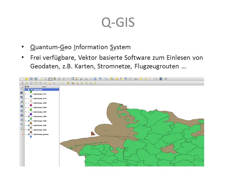 Q-GIS Quantum-Geo Information System Frei verfügbare, Vektor basierte Software zum Einlesen von Geodaten, z.B. Karten, Stromnetze, Flugzeugrouten …