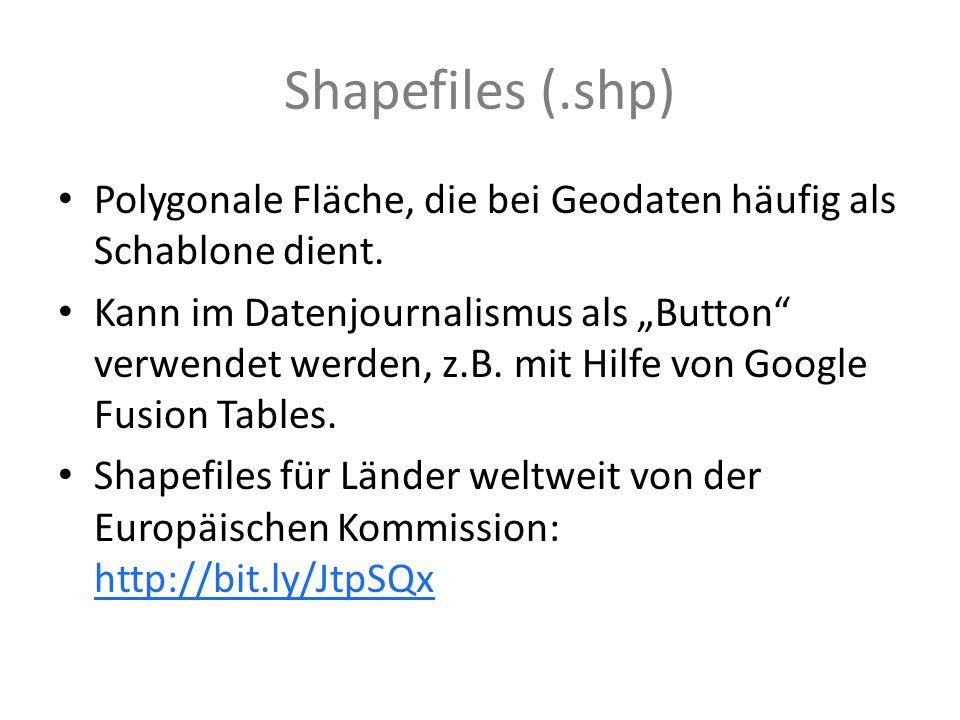 Shapefiles (.shp) Polygonale Fläche, die bei Geodaten häufig als Schablone dient. Kann im Datenjournalismus als Button verwendet werden, z.B. mit Hilf