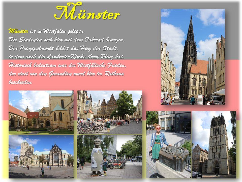 Münster Münster ist in Westfalen gelegen. Die Studenten sich hier mit dem Fahrrad bewegen. Der Prinzipalmarkt bildet das Herz der Stadt, in dem auch d