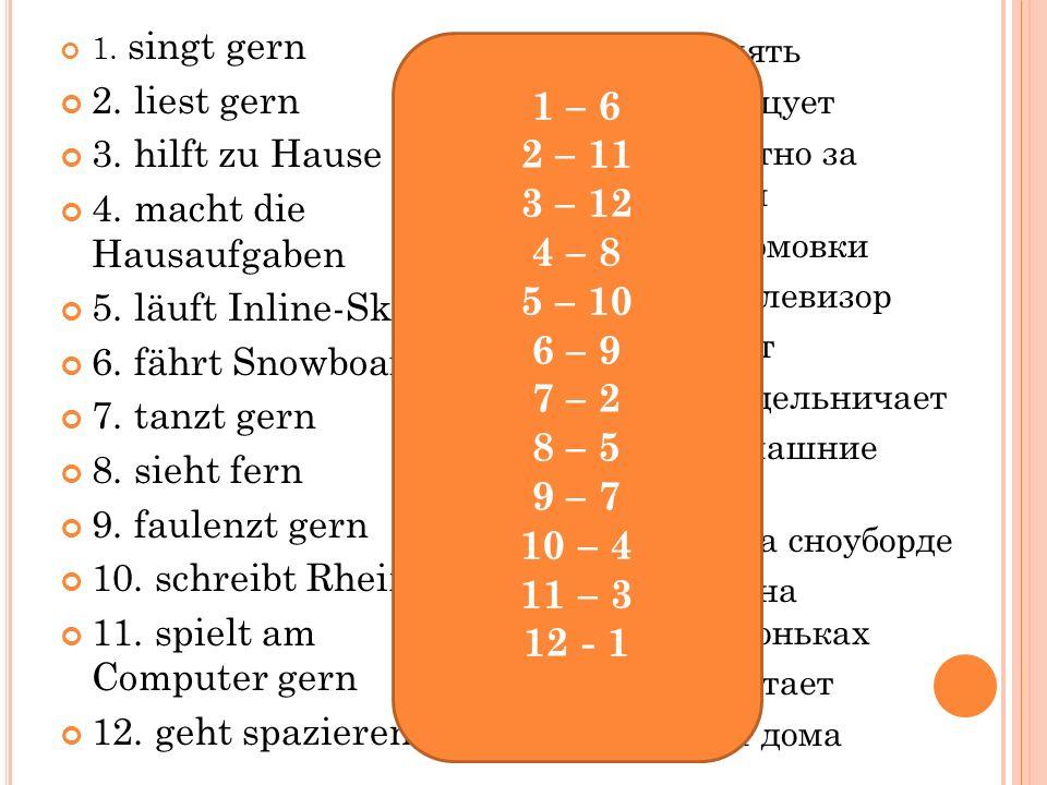 1.singt gern 2. liest gern 3. hilft zu Hause 4. macht die Hausaufgaben 5.