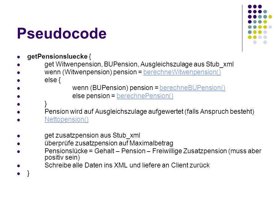 Pseudocode getPensionsluecke { get Witwenpension, BUPension, Ausgleichszulage aus Stub_xml wenn (Witwenpension) pension = berechneWitwenpension()berec