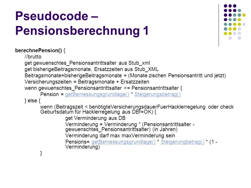 Pseudocode – Pensionsberechnung 1 berechnePension() { //brutto get gewuenschtes_Pensionsantrittsalter aus Stub_xml get bisherigeBeitragsmonate, Ersatz