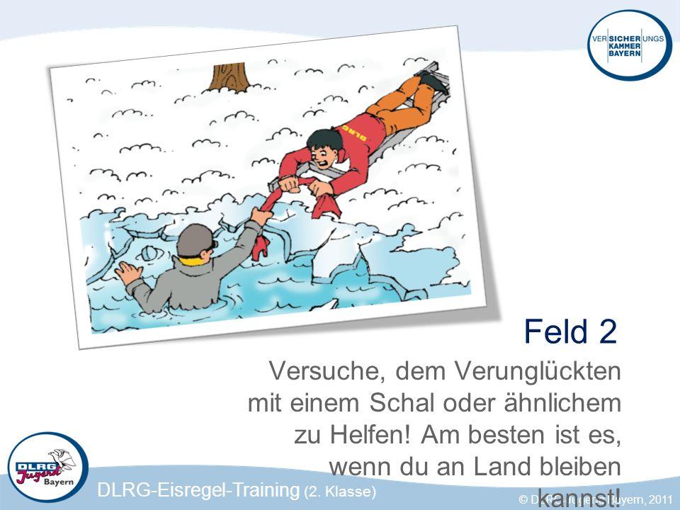 DLRG-Eisregel-Training (2. Klasse) © DLRG-Jugend Bayern, 2011 Feld 2 Versuche, dem Verunglückten mit einem Schal oder ähnlichem zu Helfen! Am besten i