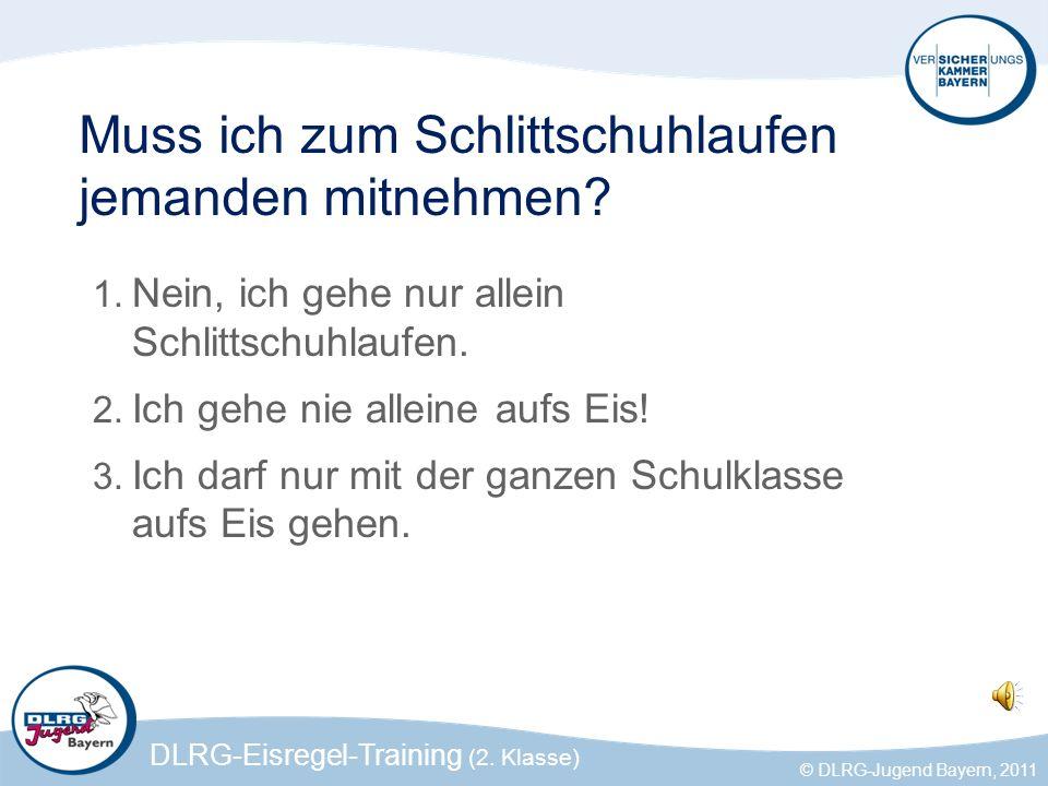 DLRG-Eisregel-Training (2. Klasse) © DLRG-Jugend Bayern, 2011 Muss ich zum Schlittschuhlaufen jemanden mitnehmen? 1. Nein, ich gehe nur allein Schlitt