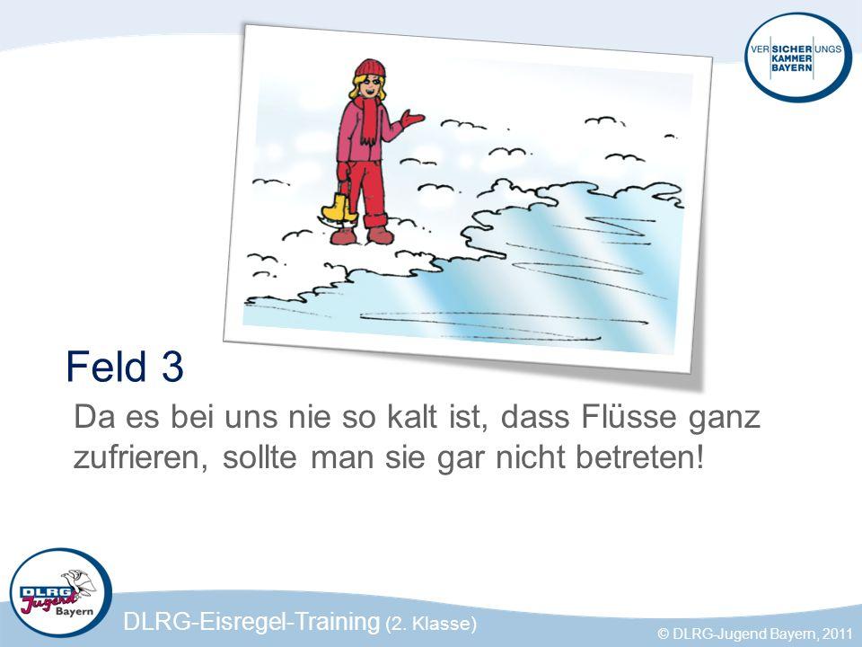 DLRG-Eisregel-Training (2. Klasse) © DLRG-Jugend Bayern, 2011 Feld 3 Da es bei uns nie so kalt ist, dass Flüsse ganz zufrieren, sollte man sie gar nic