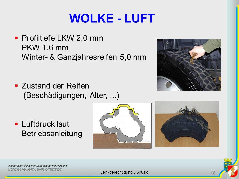 Lenkberechtigung 5.500 kg10 WOLKE - LUFT Profiltiefe LKW 2,0 mm PKW 1,6 mm Winter- & Ganzjahresreifen 5,0 mm Zustand der Reifen (Beschädigungen, Alter
