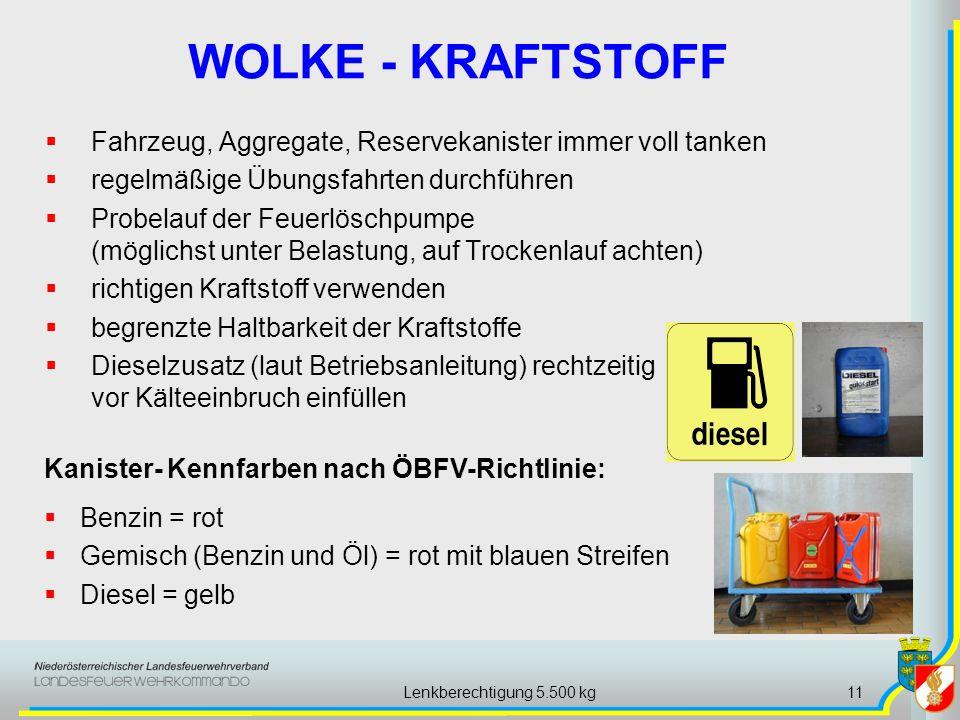 Lenkberechtigung 5.500 kg11 WOLKE - KRAFTSTOFF Fahrzeug, Aggregate, Reservekanister immer voll tanken regelmäßige Übungsfahrten durchführen Probelauf