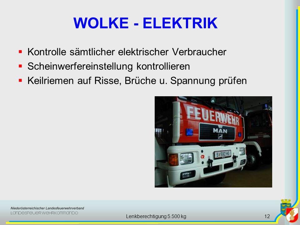 Lenkberechtigung 5.500 kg12 WOLKE - ELEKTRIK Kontrolle sämtlicher elektrischer Verbraucher Scheinwerfereinstellung kontrollieren Keilriemen auf Risse,